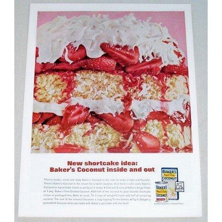 1962 Baker's Angel Flake Coconut Strawberry Shortcake Color Print Ad