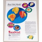 1941 Sunkist California Lemons Color Print Ad - Flavor Color!