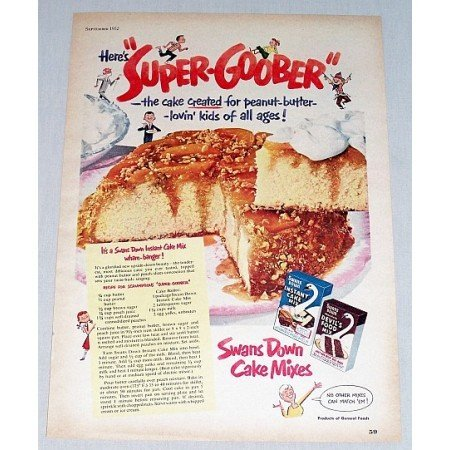 1952 Swans Down Cake Mixes Color Print Ad - Super-Goober
