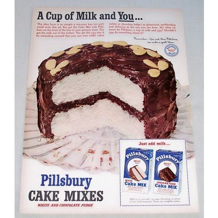 1951 Pillsbury Cake Mixes Color Print Ad - Cup Of Milk And You