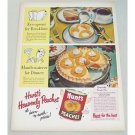 1953 Hunt's Peaches Heavenly Peach Pie Recipe Color Print Ad