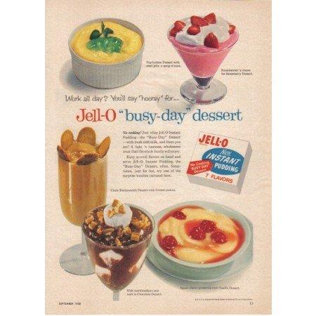 1958 Jello Instant Pudding Color Print Ad - Busy Day Dessert