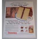 1957 Dromedary Yellow Cake Mix Abe Lincoln Home Color Print Ad