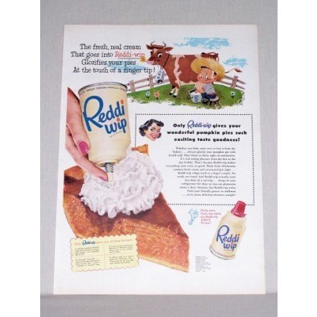 1953 Reddi Wip Dessert Topping Boy Milking Cow Art Color Print Ad