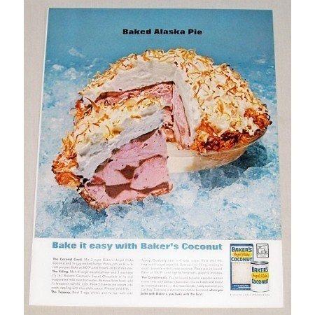 1962 Baker's Coconut Baked Alaska Pie Recipe Color Print Ad