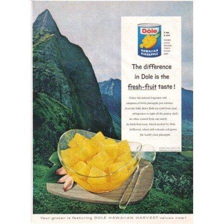 1960 Dole Hawaiian Pineapple Windward Oahu Pali Color Print Ad