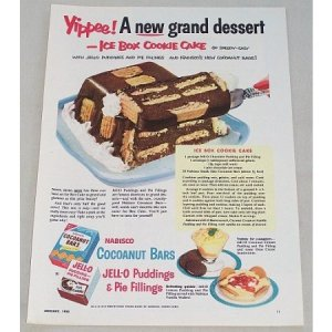 1953 Jello Pudding Nabisco Bar Ice Box Cake Recipe Color Print Ad