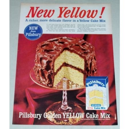 1956 PILLSBURY Golden Yellow Cake Mix Color Print Ad