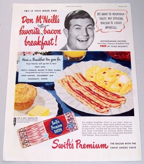 1950 Swift's Premium Bacon Color Print Ad Celebrity Don McNeill