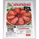 1952 Spam Canned Meats Bean Bake Recipe Color Print Ad