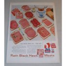 1955 Rath Black Hawk Sliced Meats Color Print Ad