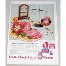 1955 Rath Black Hawk Meats Daintee Ham Scales Iowa Clock Color Print Ad