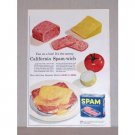 1957 Spam Canned Meat Color Print Ad - California Spam-wich