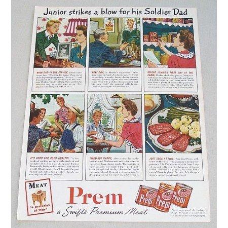 1944 Prem Premium Canned Meats Color Print Ad