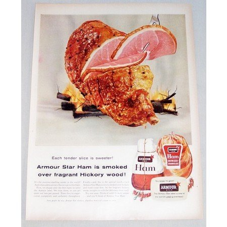 1955 Armour Star Ham Color Print Food Ad