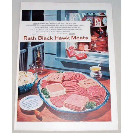1956 Rath Black Hawk Meats Lunch Meat Color Print Ad - Supper on the Porch