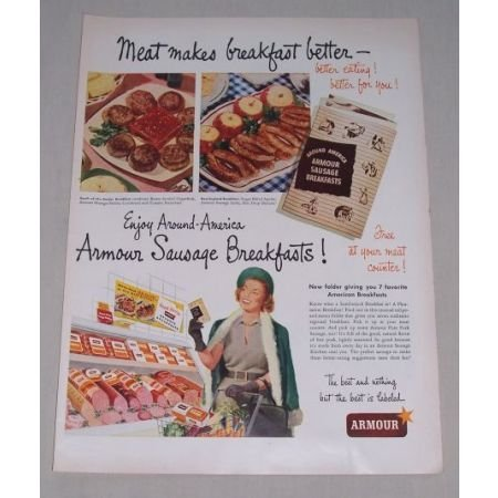 1949 Armour Sausage Breakfast Color Print Ad