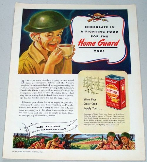 1943 Nestle's Sweet Milk Cocoa Vintage Wartime WWII Art Color Print Ad - Home Guard