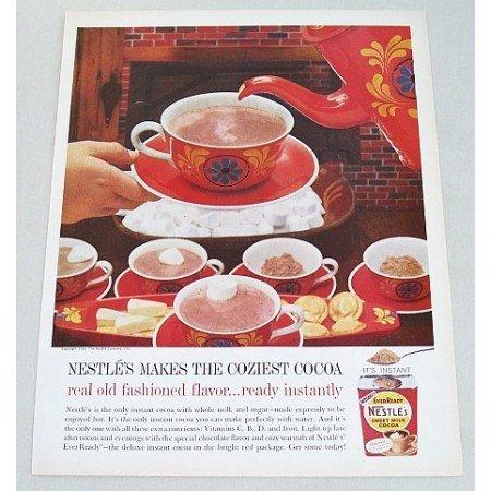 1960 Nestle's Milk Cocoa Color Print Ad - Coziest Cocoa