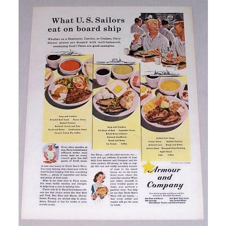 1943 Armour and Company Wartime WWII Color Print Ad - Sailors Eat On Ship