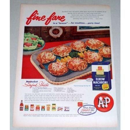 1956 Ann Page Elbow Macaroni Seafood Shells Recipe Color Print Ad