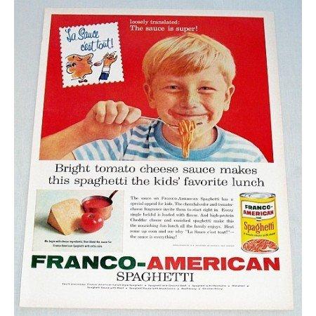 1960 Franco American Spaghetti Color Print Ad - Sauce is Super