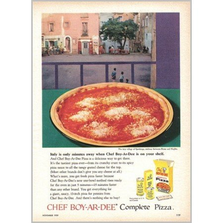 1959 Chef Boy-Ar-Dee Pizza Mix Sperlonga Color Print Ad