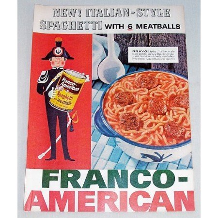 1956 Franco American Spaghetti with Meatballs Color Print Ad