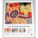 1939 Ritz Crackers Color Print Ad - Year After Year