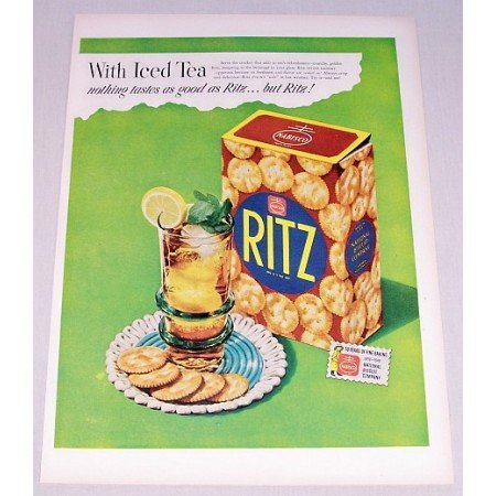 1948 Nabisco Ritz Crackers Color Print Ad - With Iced Tea