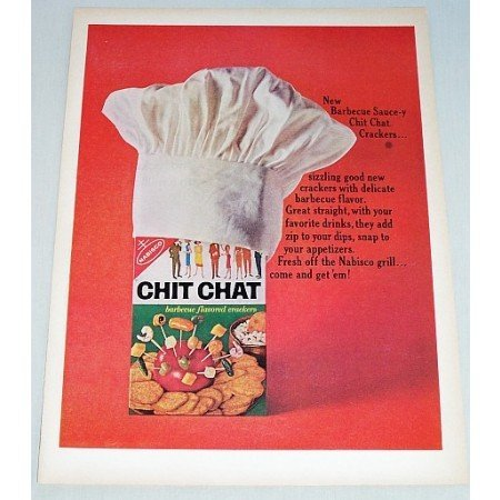 1964 Nabisco Chit Chat Barbecue Crackers Color Print Ad