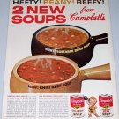 1962 Campbell's Chili Beef Vegetable Bean Soup Color Print Ad