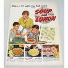 1952 Campbell's Soup For Lunch Baseball Themed Color Print Ad