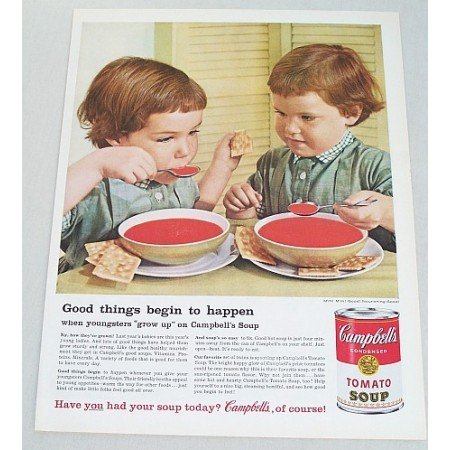 1960 Campbell's Tomato Soup Color Print Ad - Grow Up On Soup