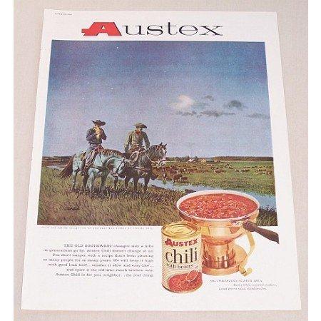 1960 Austex Chili Stanley Galli Horses Western Art Color Print Ad