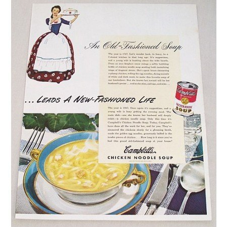 1947 Campbell's Chicken Noodle Soup Color Print Ad