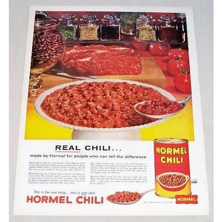 1960 Hormel Chili Color Print Ad - Real Chili