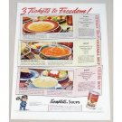 1939 Campbell's Celery Soup Color Print Ad - 3 Tickets To Freedom