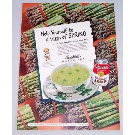 1948 Campbell's Asparagus Soup Color Print Ad - Taste Of Spring