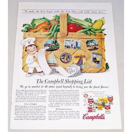 1957 Campbell's Soup Vegetable Basket Art Color Print Ad - Campbell's Shopping List