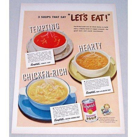 1948 Campbell's Chicken Noodle Soup Color Print Ad - Lets Eat