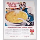 1960 Campbell's Chicken Noodle Soup Color Print Ad - Sunday Supper