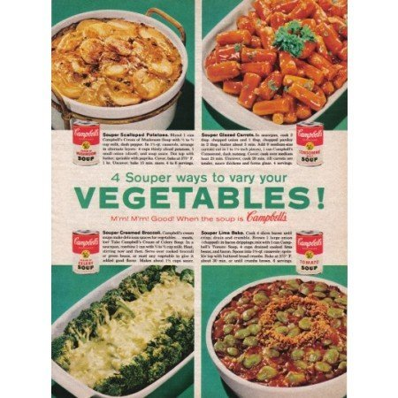 1961 Campbell's Soups Color Print Ad - Vary Your Vegetables