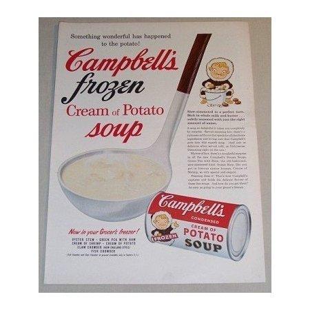1955 Campbell's Frozen Cream of Potato Soup Color Print Ad