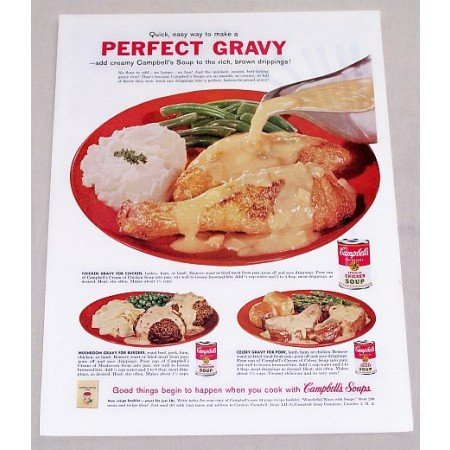 1960 Campbell's Cream of Chicken Soup Color Print Ad - Perfect Gravy