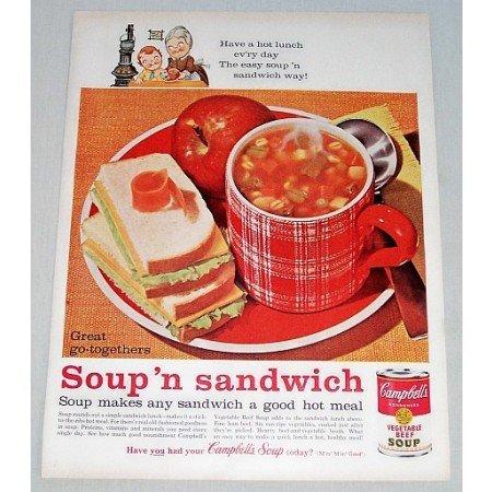 1961 Campbells Veg Beef Soup Color Print Ad - Go Togethers