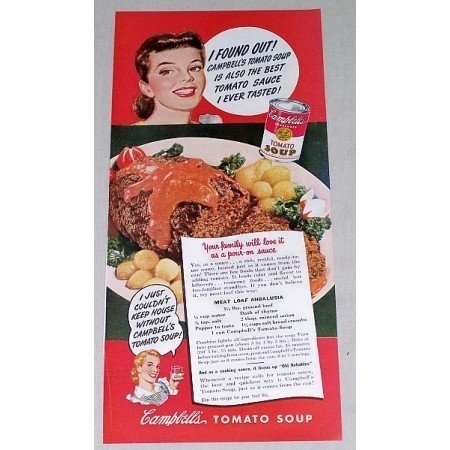 1949 Campbell's Tomato Soup Meatloaf Recipe Color Print Ad