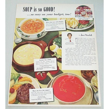 1949 Campbell's Tomato Soup Color Print Ad - Soup So Good
