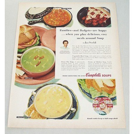 1954 Campbell's Soups Color Print Ad - Families and Budgets