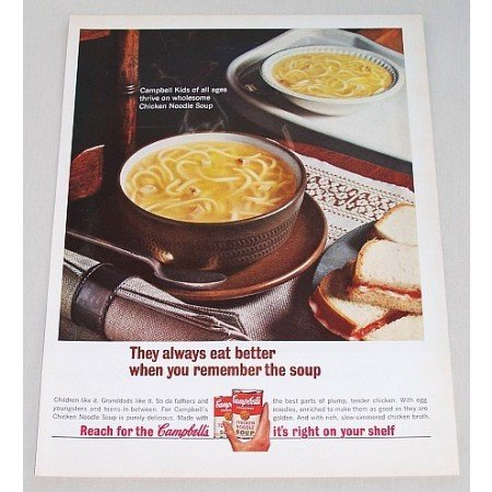1962 Campbell's Chicken Noodle Soup Color Print Ad